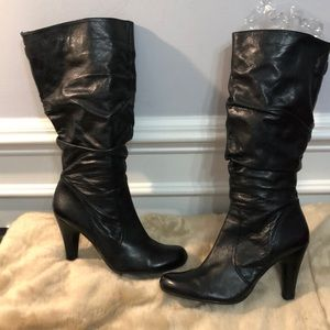 GUESS Black Buttery Leather Boots Size 9.5